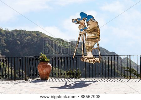 Statue Of Francis Ford Coppola In Sicily