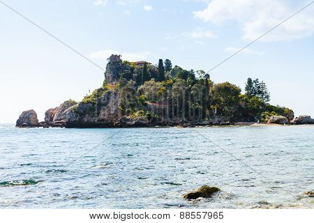 Island Isola Bella In Ionian Sea, Sicily, Italy