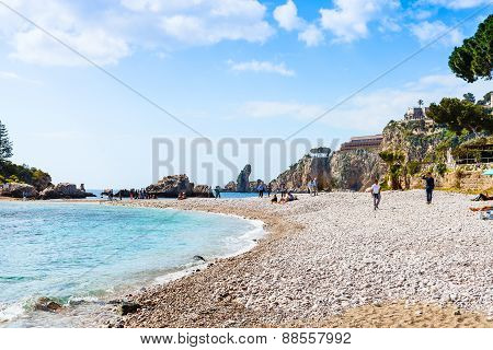 Beach Of Isola Bella Island On Ionian Sea, Sicily