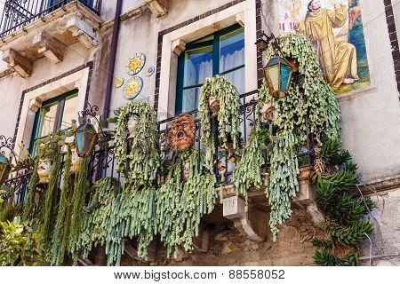 Decoration On Balcony Of Urban House, Taormina