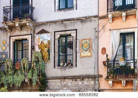 Decorated Facade Of Urban House In Taormina Sicily