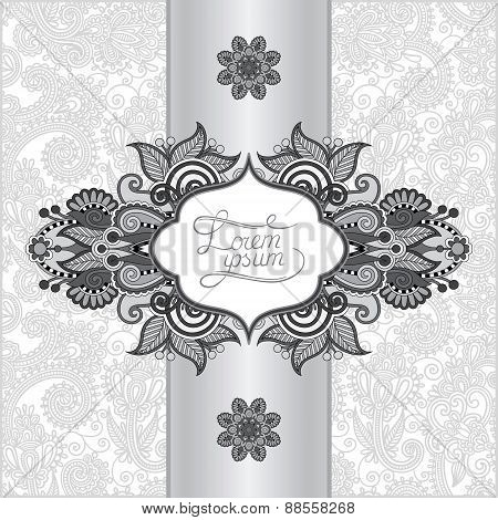 grey floral ornamental template with place for your text