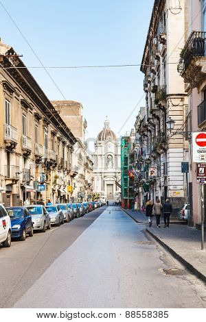 Street And Saint Agatha Cathedral In Catania