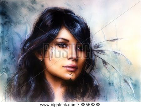 Young Indian Woman With  Feather, with Ornamental Tattoo, On Structured Abstract Background