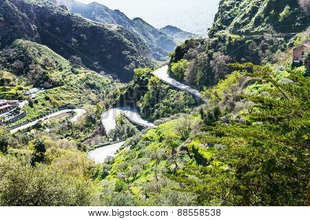 Mountain Road To Savoca Town In Sicily