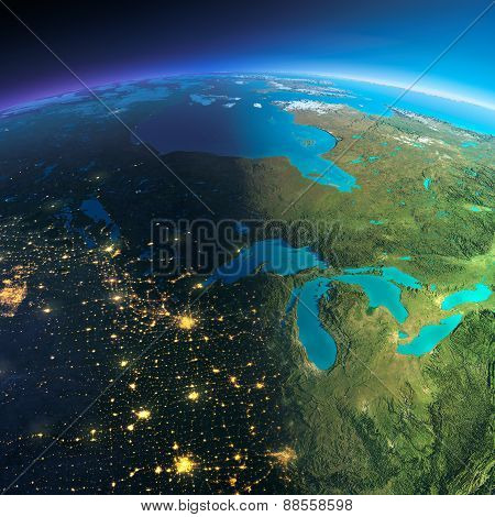 Detailed Earth. The Northern U.s. States And Canada
