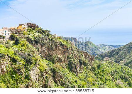 Mountain Town Savoca In Sicily And Sea On Horizon