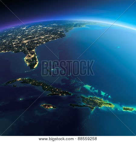 Detailed Earth. Caribbean Islands