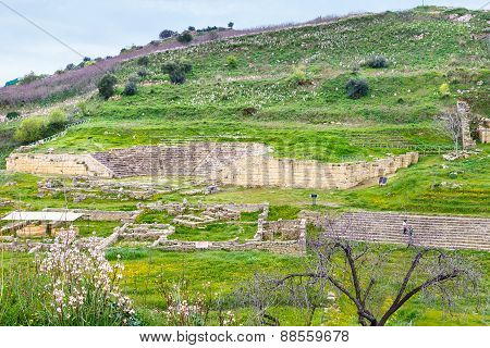Ancient Greek Theater And Agora In Morgantina