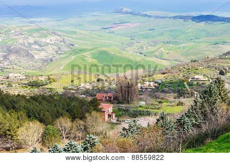 Outskirts Of Aidone Town In Green Sicilian Hills