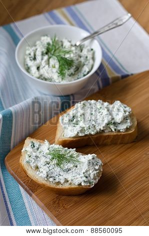 Sandwiches With Cheese And Parsley.