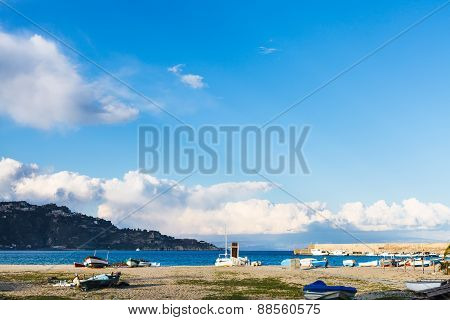 Urban Beach In Giardini Naxos Resort In Spring