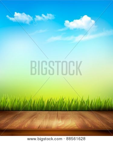 Wooden deck in front of green grass and blue sky background. Vector