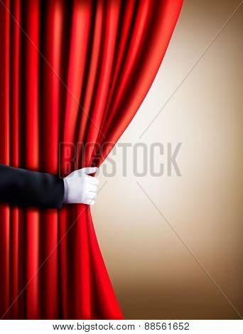 Hand in a white glove pulling curtain away. Theater. Vector.