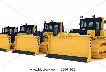 Yellow bulldozers.
