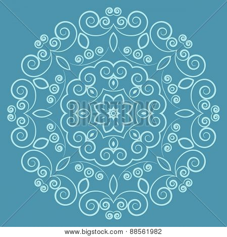 Round lacy vintage pattern on blue background