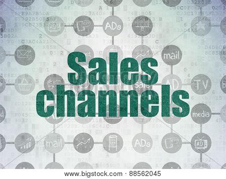 Marketing concept: Sales Channels on Digital Paper background