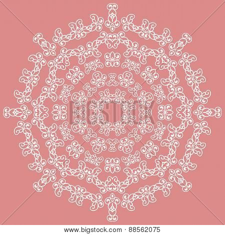 Round white ornate pattern on pink background
