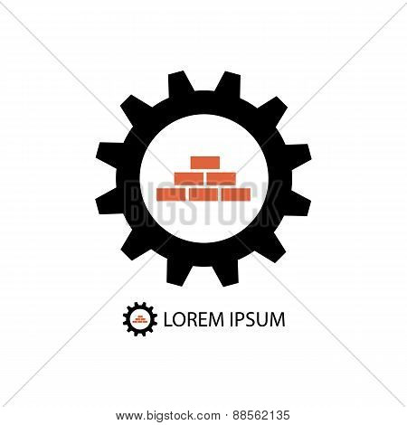 Construction logo wih gear wheel and bricks