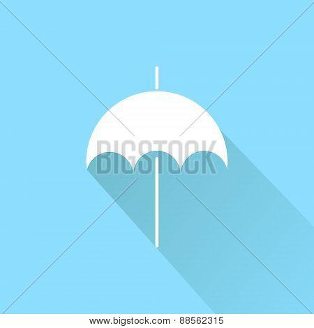Flat icon on blue background. Umbrella.