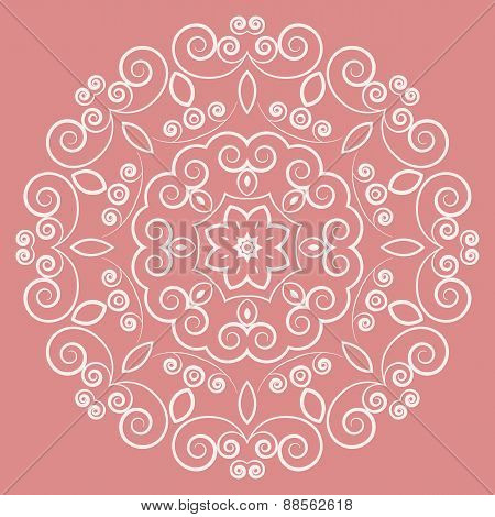 Round lacy white pattern on pink background