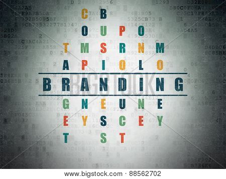 Advertising concept: word Branding in solving Crossword Puzzle