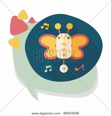 Butterfly Music Toy Flat Icon With Long Shadow,eps10