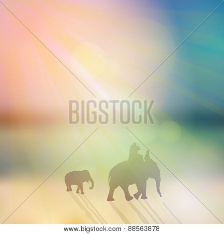 Elephant with mahout and small elephant silhouette on sunny sky and beach background. Vector