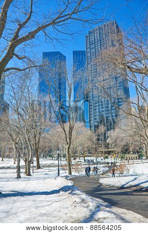 Central Park, New York In The Snow