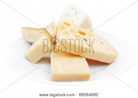 edam parmesan and brie cheese on white platter isolated on white background
