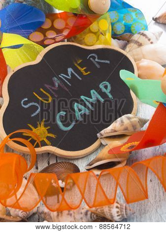 Summer Camp, title on the chalkboard with decoration