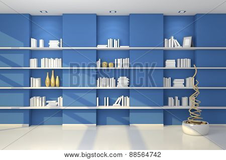 3d rendered modern shelves.