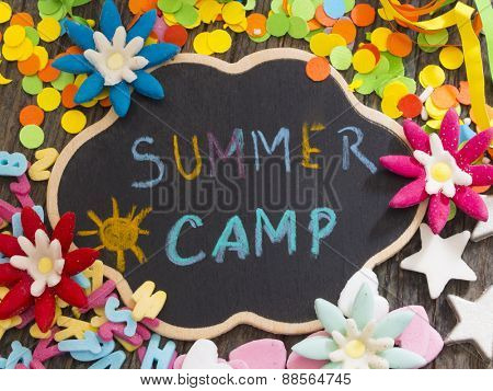 Summer Camp, title on the chalkboard