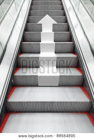 Shining Modern Metal Escalator With White Arrow