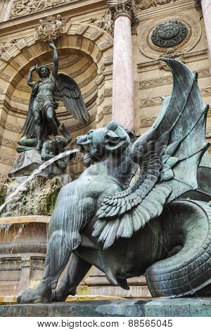 Winged Lion Statue, Fontaine Saint-michel In Paris, France