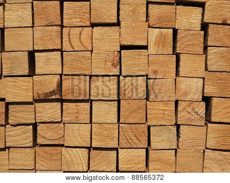 Cut face surface of a pile of plantation grown dressed pine
