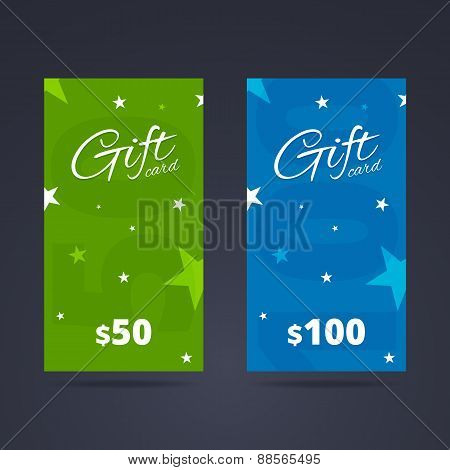 Vertical Gift Card Template With Calligraphic Font And Backgroun