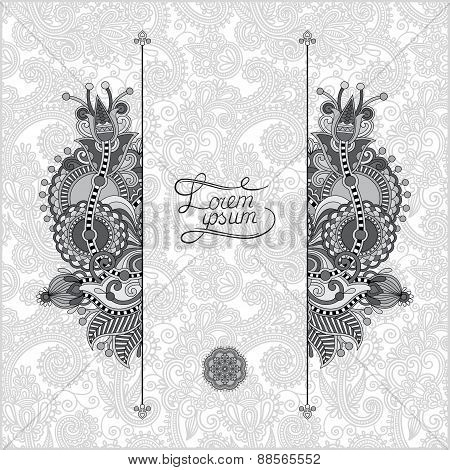grey oriental decorative template for greeting card