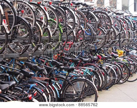 Crowded two level bicycle storage