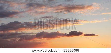 Romantic Sunset Sky With Clouds