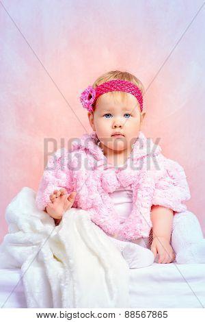 Portrait of a sweet baby girl. Newborn. Happy childhood.