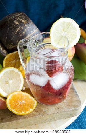 Cool Drink With Strawberry In Jar