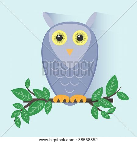 Purple Owl Sitting on a Branch