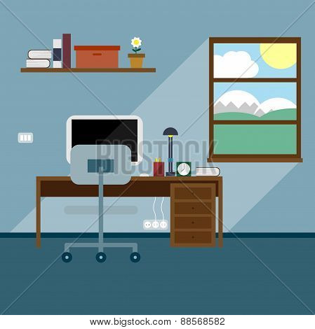 Flat Office Vector Illustration
