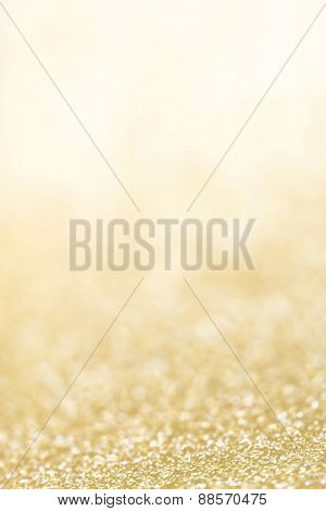 ..holiday Abstract Glitter Background With Blinking Lights And Gold Defocused Texture. Golden Glitte