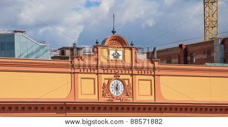 The clock on the pediment