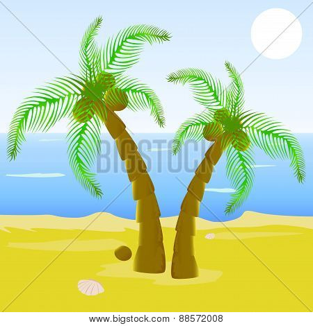 Cartoon beautiful beach with palm tree
