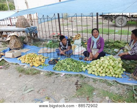 Paro,bhutan -  September 1 :  People Shopping In The Market