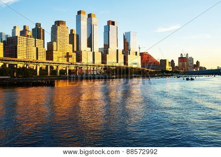 Riverside neighborhood in New York City at sunset