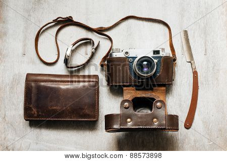 Retro Camera,watch And Wallet Top View